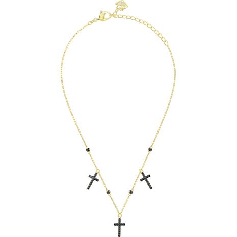 Mini Cross Halsband, grau, vergoldet - Swarovski, 5395809