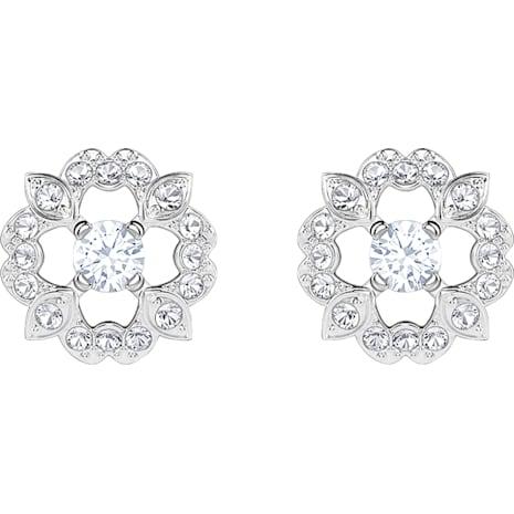 Sparkling Dance Flower Pierced Earrings, White, Rhodium plated - Swarovski, 5396227