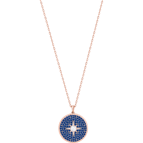 Locket Pendant, Blue, Rose-gold tone plated - Swarovski, 5397126