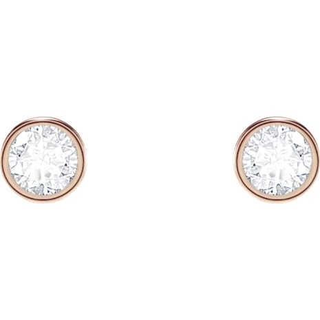 Subtle Pierced Earrings, Black, Rose-gold tone plated - Swarovski, 5403217
