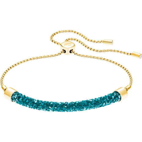 Long Beach Bracelet, Aqua, Gold-tone plated - Swarovski, 5404436