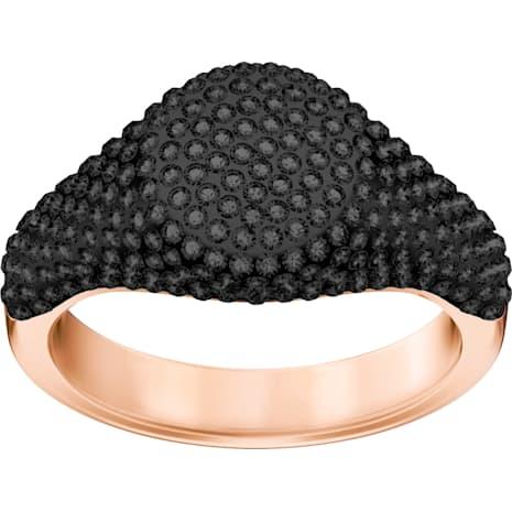Stone Signet Ring, Black, Rose-gold tone plated - Swarovski, 5406222