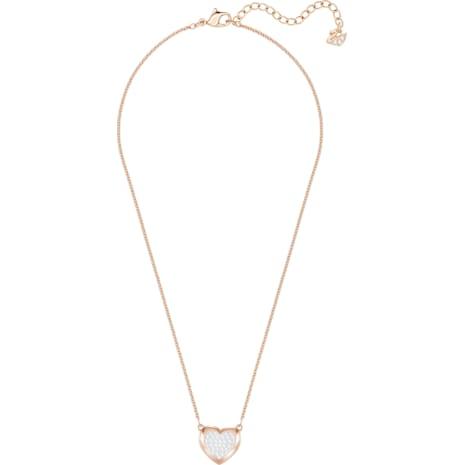 Hall Heart Pendant, White, Rose-gold tone plated - Swarovski, 5407949