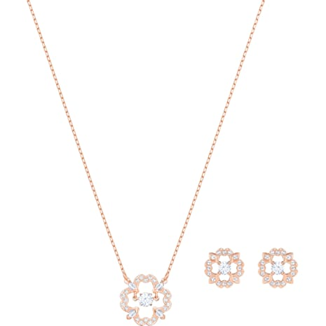 Sparkling Dance Flower 套裝, 白色, 鍍玫瑰金色調 - Swarovski, 5408439