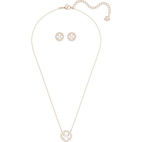 Sparkling Dance Flower Set, White, Rose-gold tone plated - Swarovski, 5408439