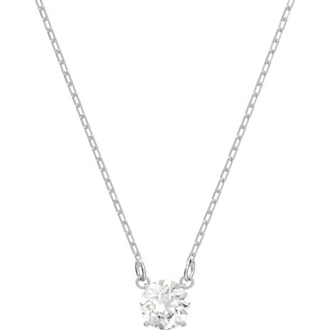 Attract Round Necklace, White, Rhodium plated - Swarovski, 5408442