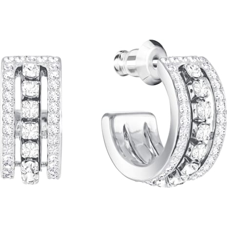 Further Pierced Earrings, White, Rhodium plated - Swarovski, 5409658