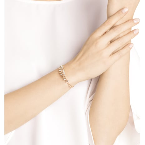 Mayfly Bangle, White, Rose-gold tone plated - Swarovski, 5410411