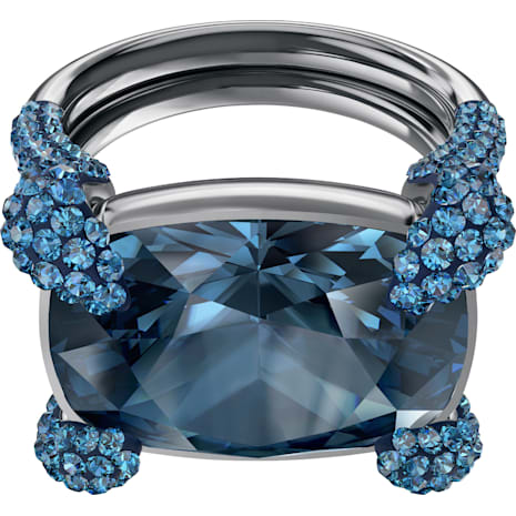 Anello cocktail Make, azzurro, Placcatura rutenio - Swarovski, 5410664