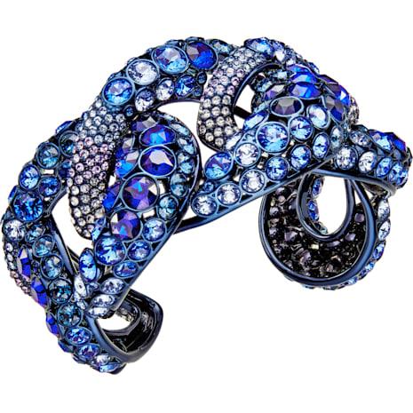 Bracciale rigido Tabloid, multicolore, Rivestimento PVD azzurro - Swarovski, 5410999