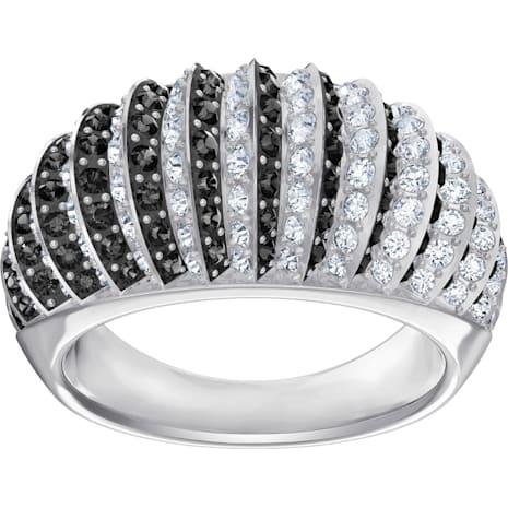 Luxury Domed Ring, Black, Rhodium plating - Swarovski, 5412058