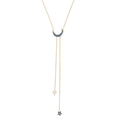 Collar en Y Swarovski Symbolic Moon, azul, Combinación de acabados metálicos - Swarovski, 5412630