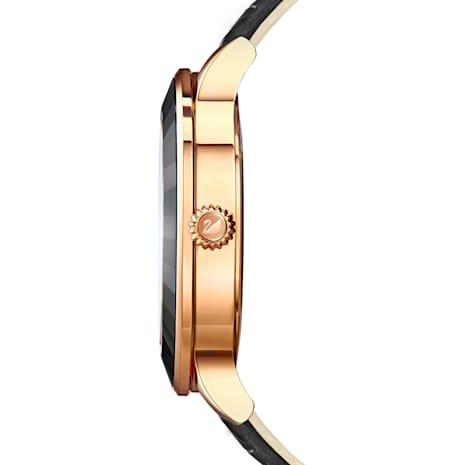 Octea Lux Watch, Leather strap, Black, Rose-gold tone PVD - Swarovski, 5414410