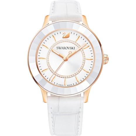 Montre Octea Lux, Bracelet en cuir, blanc, PVD doré rose - Swarovski, 5414416