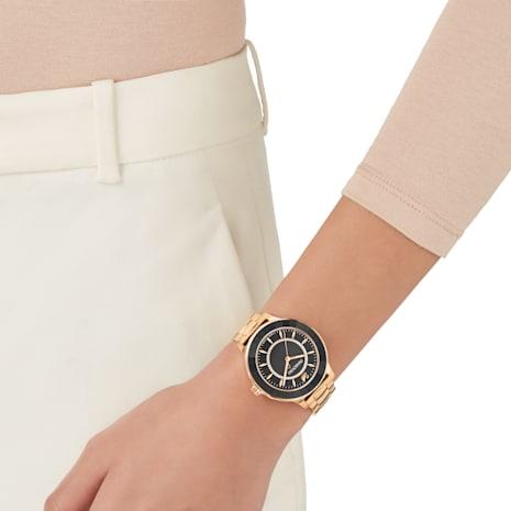 Montre Octea Lux, Bracelet en métal, noir, PVD doré rose - Swarovski, 5414419