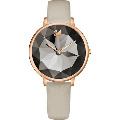 Montre Crystal Lake, Bracelet en cuir, gris, PVD doré rose - Swarovski, 5415996