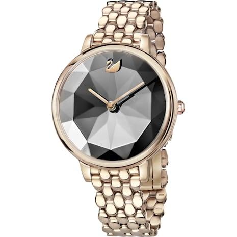 Montre Crystal Lake, Bracelet en métal, gris foncé, PVD doré champagne - Swarovski, 5416026