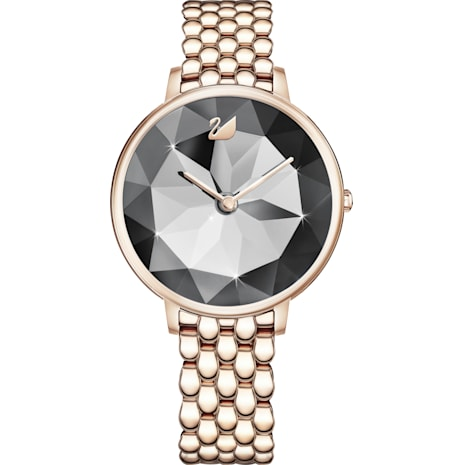 Crystal Lake Watch, Metal bracelet, Dark Gray, Champagne-gold tone PVD - Swarovski, 5416026