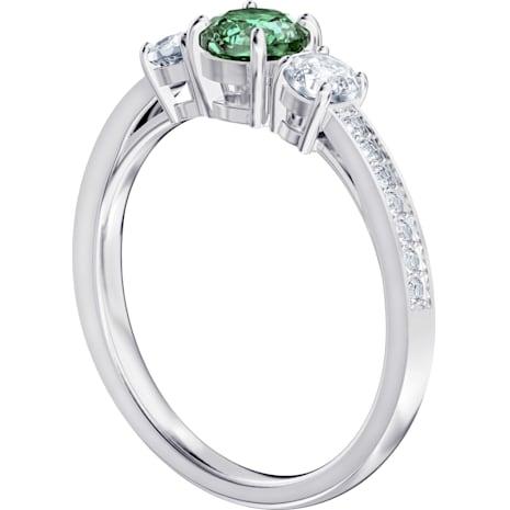 Attract Trilogy Round Ring, grün, Rhodiniert - Swarovski, 5416151