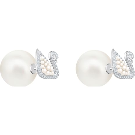 Iconic Swan Stud Pierced Earrings, White, Rhodium plating - Swarovski, 5416591