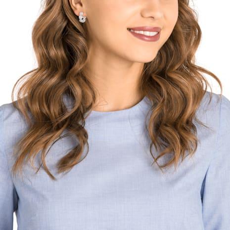 Angelic Hoop Pierced Earrings, White, Rhodium plated - Swarovski, 5418269