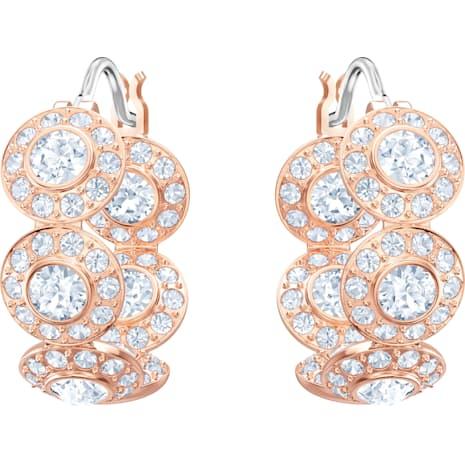 Angelic 穿孔耳環, 白色, 鍍玫瑰金色調 - Swarovski, 5418271