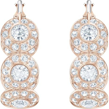 Pendientes de aro Angelic, blanco, Baño en tono Oro Rosa - Swarovski, 5418271
