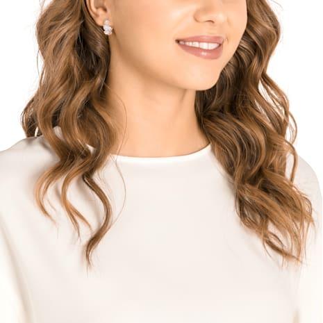 Angelic Hoop Pierced Earrings, White, Rose-gold tone plated - Swarovski, 5418271