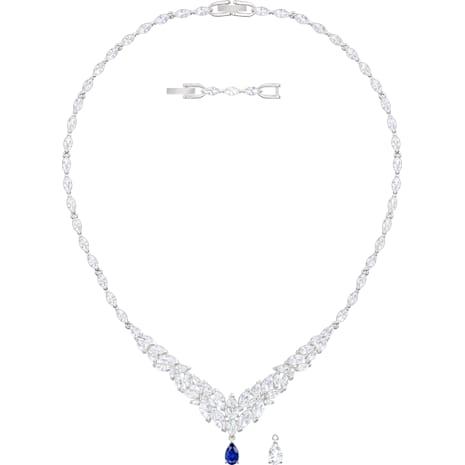 Louison 項鏈, 白色, 鍍白金色 - Swarovski, 5419234