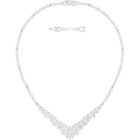 Collar Louison, blanco, Baño de Rodio - Swarovski, 5419234