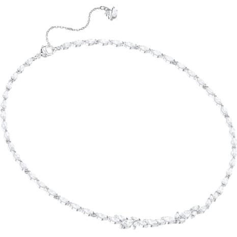 Collar Louison, blanco, Baño de Rodio - Swarovski, 5419235