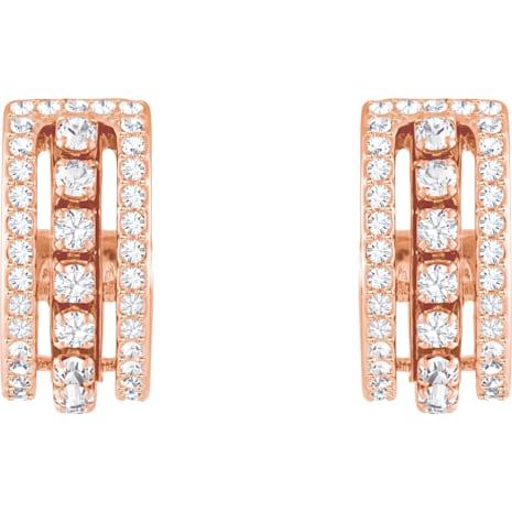 Further 穿孔耳環, 白色, 鍍玫瑰金色調 - Swarovski, 5419852