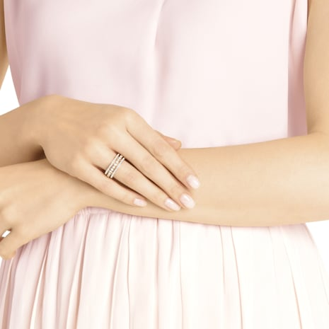 Anillo Further, blanco, Baño en tono Oro Rosa - Swarovski, 5419854