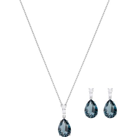 Vintage Set, Deniz mavisi, Rodyum kaplama - Swarovski, 5421820