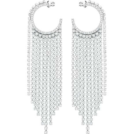 Fit Hoop Pierced Earrings, White, Rhodium plated - Swarovski, 5421821