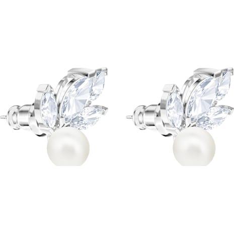 Louison Pearl 穿孔耳環, 白色, 鍍白金色 - Swarovski, 5422683