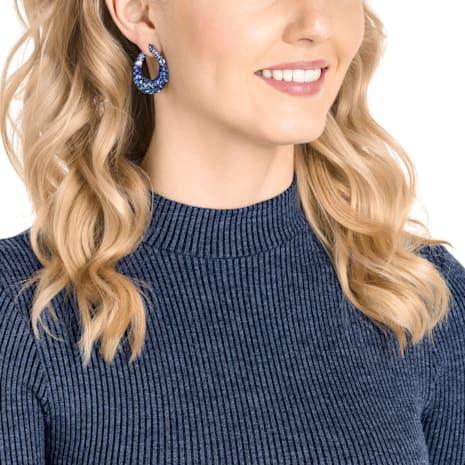 Magnetized Pierced Earrings, Multi-colored, Blue PVD coating - Swarovski, 5422710