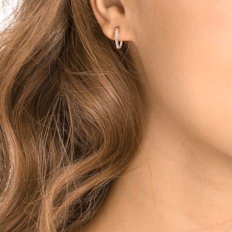 Swarovski Symbolic Evil Eye Hoop Pierced Earrings, Multi-colored, Rose-gold tone plated - Swarovski, 5425857