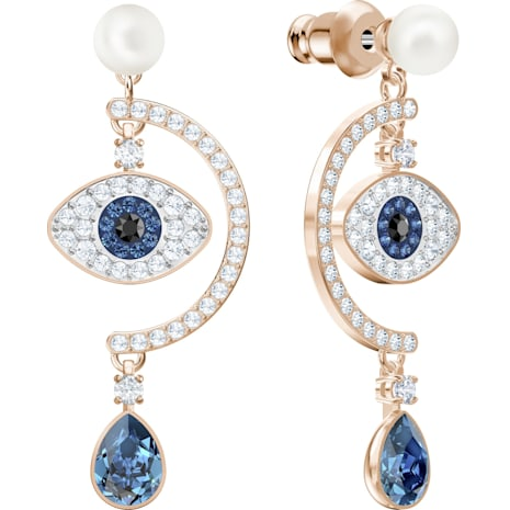 Luckily Evil Eye Pierced Earrings, Multi-colored, Rose-gold tone plated - Swarovski, 5425860