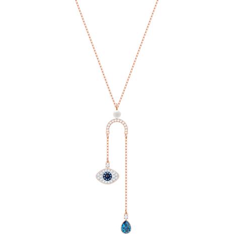 Collar en Y Swarovski Symbolic Evil Eye, multicolor, Baño en tono Oro Rosa - Swarovski, 5425861