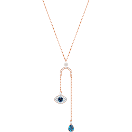 Swarovski Symbolic Evil Eye Y Necklace, Multi-colored, Rose-gold tone plated - Swarovski, 5425861