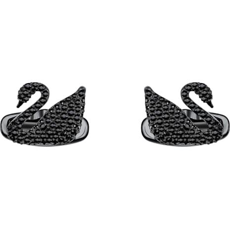Swan Cuff Links, Black, Black PVD - Swarovski, 5427129