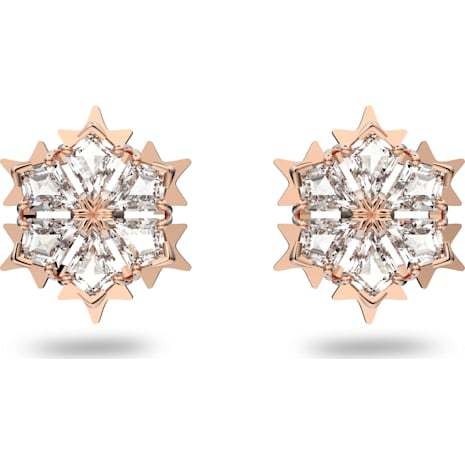 Magic Pierced Earrings, White, Rose-gold tone plated - Swarovski, 5428429