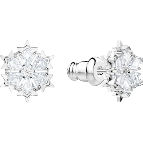 Magic Pierced Earrings, White, Rhodium plated - Swarovski, 5428430