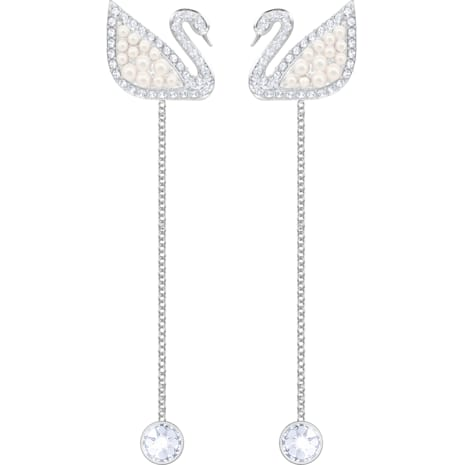 Swarovski Iconic Swan Pierced Earrings, White, Rhodium plated - Swarovski, 5429270