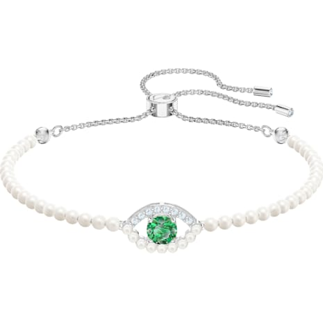 Luckily Bracelet, Green, Rhodium plated - Swarovski, 5429733