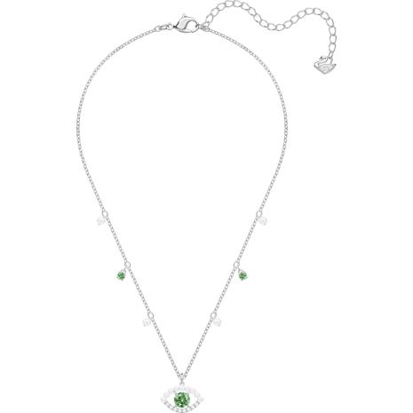 Luckily Necklace, Green, Rhodium plated - Swarovski, 5429734