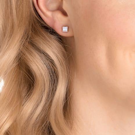 Boucles d'oreilles clous Attract, blanc, Métal doré rose - Swarovski, 5431895