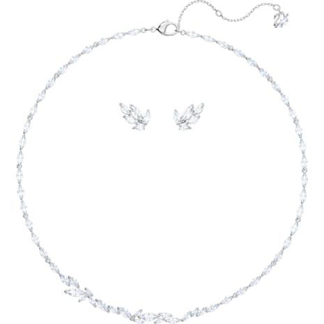 Louison Set, White, Rhodium plated - Swarovski, 5435164