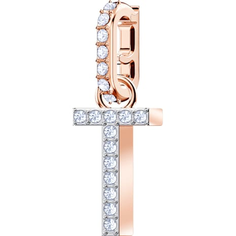 Swarovski Remix Collection Charm T, White, Rose-gold tone plated - Swarovski, 5437615